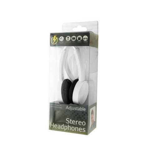 White Adjustable Stereo Headphones ( Case of 12 )