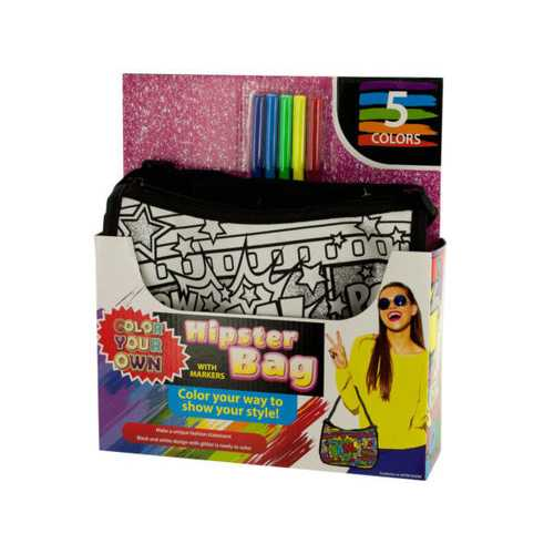 Color Your Own Glitter Hipster Fashion Bag with Markers ( Case of 6 )