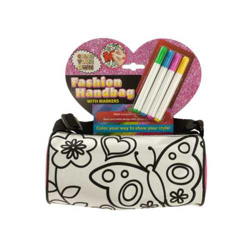 Color Your Own Fashion Roll Handbag with Markers ( Case of 4 )