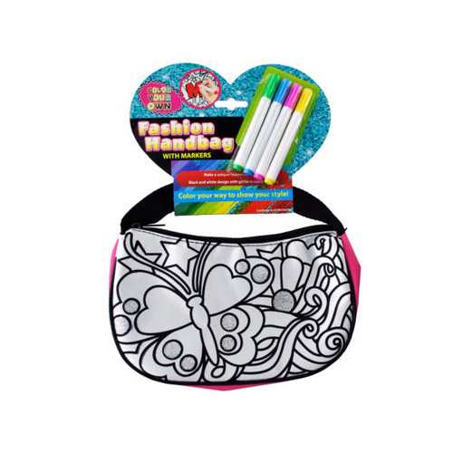 Color Your Own Glitter Fashion Handbag with Markers ( Case of 4 )