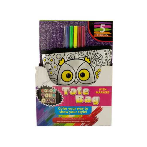 Color Your Own Fashion Tote Bag with Markers ( Case of 4 )