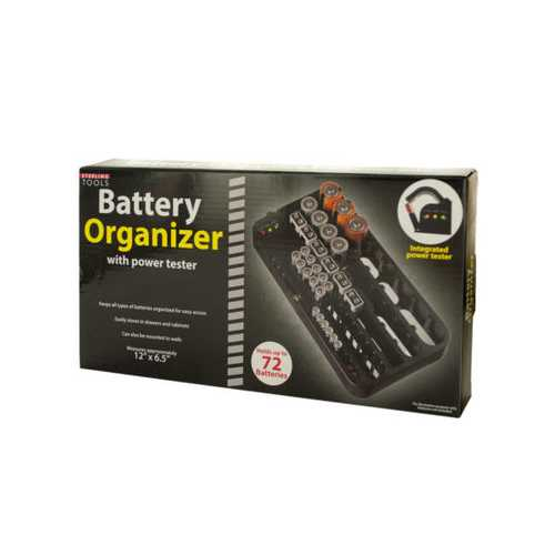 Battery Organizer with Power Tester ( Case of 4 )