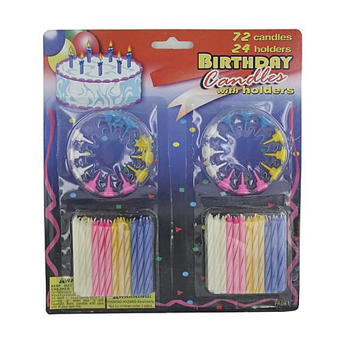 Birthday Candles with Holders Set ( Case of 72 )