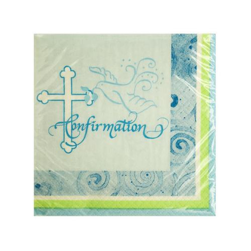 Blue Faithful Dove Confirmation Beverage Napkins ( Case of 24 )