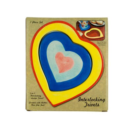 Ceramic 2 in 1 Interlocking Heart Trivets ( Case of 18 )