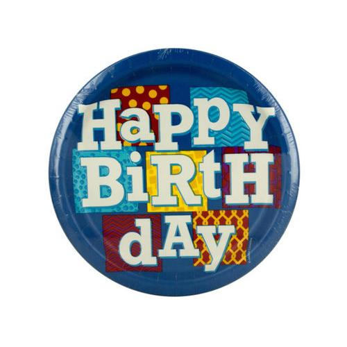 Happy Birthday Blocks Party Plates Set ( Case of 108 )