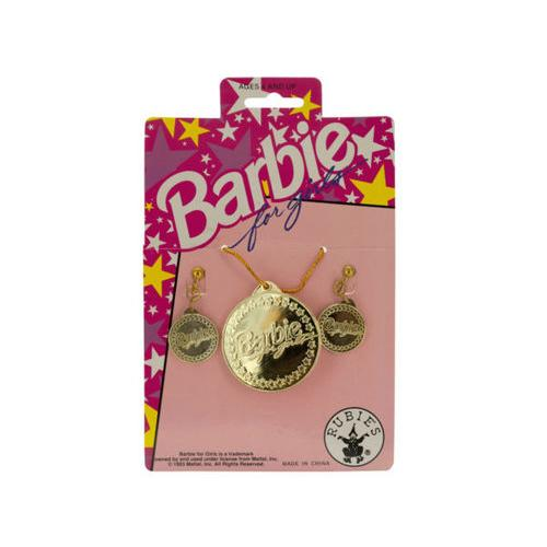 Barbie for Girls Gold Earrings & Necklace Set ( Case of 72 )