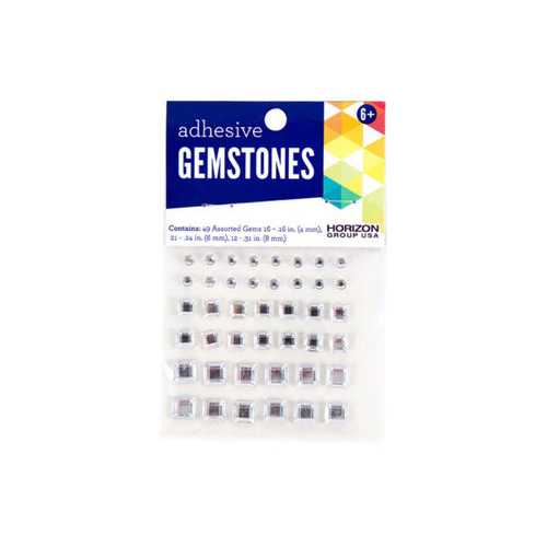 49 Pack Assorted Size Adhesive Square Gemstones ( Case of 50 )