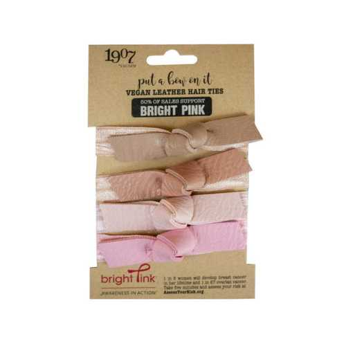 4pk pink vegan leather hair ties ( Case of 72 )