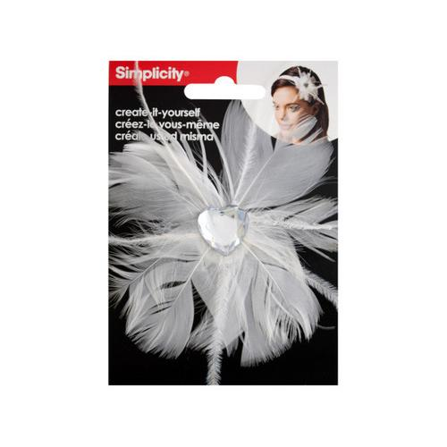 White Feather with Heart Jewel Headband Accent ( Case of 48 )