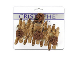 Brown Fabric-Covered Hair Claw with Flowers ( Case of 96 )