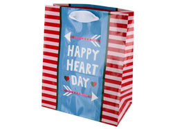 Happy Heart Day Striped Gift Bag ( Case of 72 )