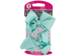 Light Blue Ribbon Bow Hair Clips Set ( Case of 12 )