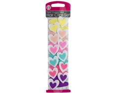Fabric Covered Heart Hair Clips Set ( Case of 36 )