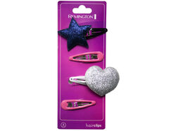 4 Count Hairclips with Star and Heart Designs ( Case of 36 )