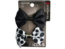 2 Count Black and Polka Dot Bow Hair Clips ( Case of 36 )