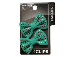 2 Count Studded Bow Salon Hair Clips ( Case of 72 )