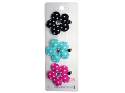 3 Count Flower Salon Clips with Gems ( Case of 60 )