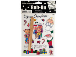 Christmas with Sayings Rub-On Transfers ( Case of 24 )