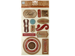 Fall Self-Adhesive Chipboard Embellishments ( Case of 72 )