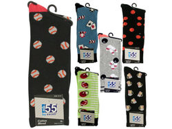 Men's Theme Cotton Blend Knit Dress Socks ( Case of 60 )