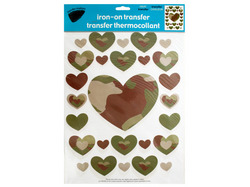 Iron-On Camouflage Hearts Transfers ( Case of 24 )
