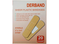 Derband 20 Count 3''x 3/4'' Sheer Plastic Bandages ( Case of 50 )