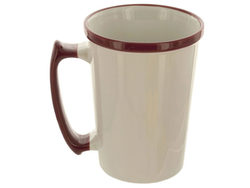 15 oz Tall White Mug with Maroon Rim & Handle ( Case of 16 )