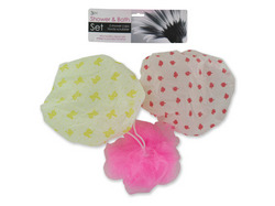 Shower Cap & Body Scrubber Set ( Case of 12 )