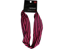 Pink and Black Striped Extra Wide Head Wrap ( Case of 36 )