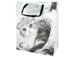 Large Black & White Puppies & Kittens Gift Bag ( Case of 24 )