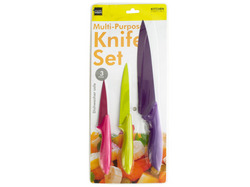 3 Piece Colorful Multi-Purpose Knife Set ( Case of 16 )
