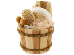 Bath Set in Wood Barrel ( Case of 16 )
