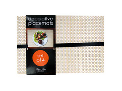 Decorative Bamboo Look Woven Placemat Set ( Case of 3 )