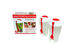 Red 2 Pack Salad Container Set ( Case of 12 )