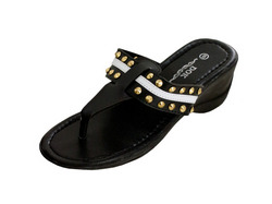 Black Wedge Sandals with Stripe & Spike Accents ( Case of 4 )
