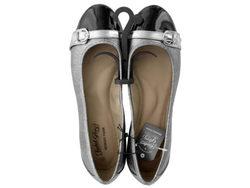 Ladies Size 9 Buckle Toe Silver & Black Memory Foam Flats ( Case of 12 )