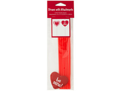 Valentine's Day Straws with Heart Attachments ( Case of 24 )