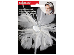 White Feather with Heart Jewel Headband Accent ( Case of 96 )