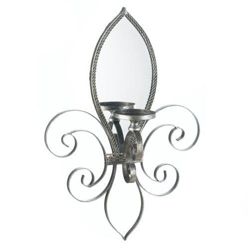 Fleur-De-Lis Mirrored Wall Sconce