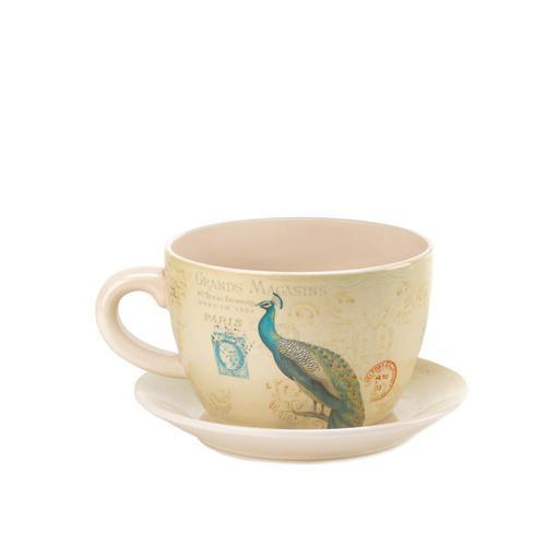 Peacock Teacup Planter