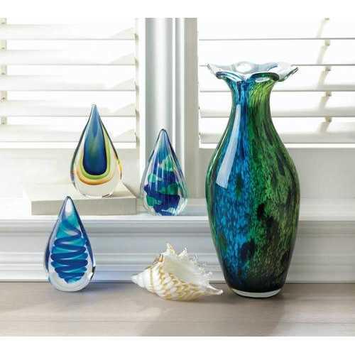 Peacock Bloom Art Glass Vase