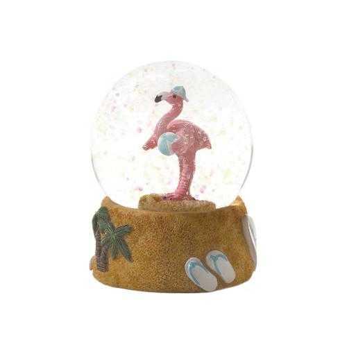 Beach Ball Flamingo Snow Globe