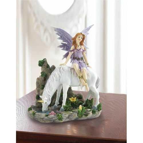 Lavender Fairy And Unicorn Figurine