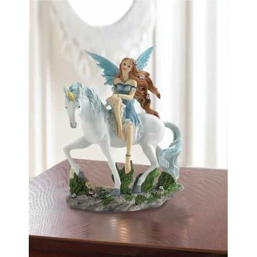 Blue Fairy And Unicorn Figurine