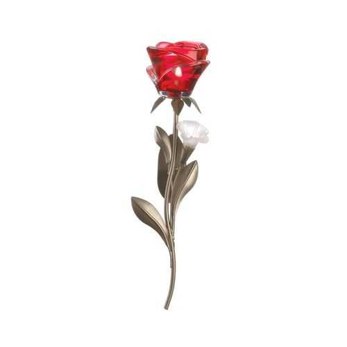Single Red Rose Wall Sconce