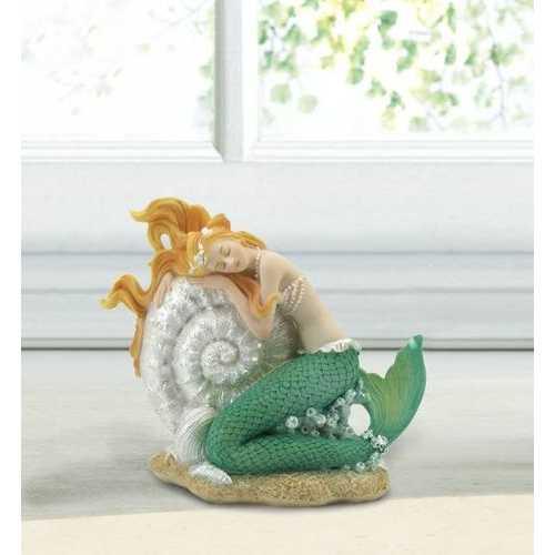 Mermaid Sleeping On Seashell Figurine