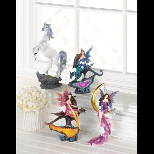Fairy & Dragon Amethyst Geode Statue