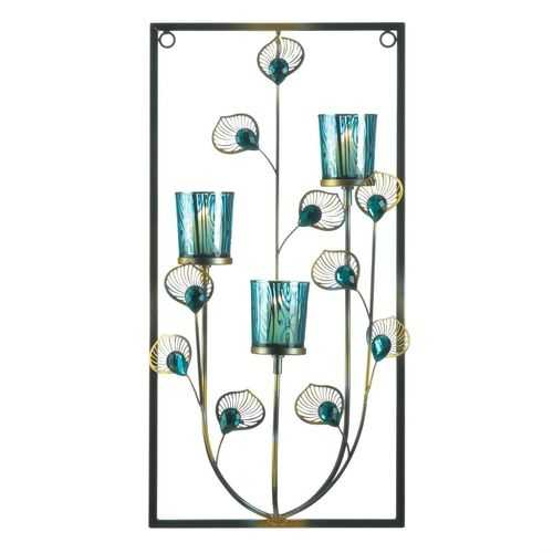 Three Candle Peacock Wall Sconce