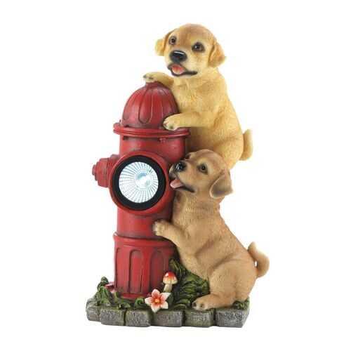 Dogs Fire Hydrant Solar Statue